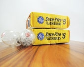 Vintage GE Flashbulbs - GE Sure-Fire No. 5 Flash Bulbs, New in Box, Set of 10 Bulbs, Vintage Camera Supply, Photography Collector Gift