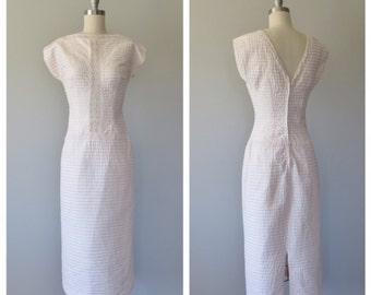 50s pink cotton wiggle dress size small / vintage wiggle dress