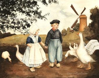 Grimm's Fairy Tale: Hansel & Gretel Print 10x8 - illustration, watercolor, painting, children's art, nursery, classic book, home wall decor