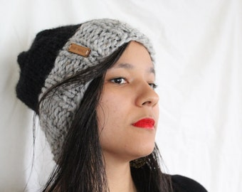 Womens winter hat, Knit slouchy hat - Knit beanie - The Kimama- Two toned knit hat