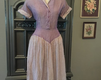 50s Lilac Summer Cotton Day Dress