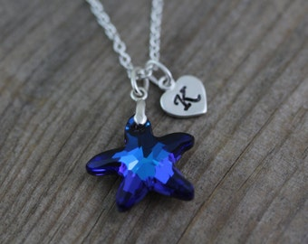 Starfish Necklace, Swarovski Crystal Starfish Necklace, Blue beach Wedding party - Bridesmaid gift Necklace. Sapphire crystal