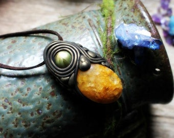 Handcrafted Labradorite and Yellow Quartz Necklace. Spirit Shift Necklace. Handcrafted Clay & Gemstone Pendant.