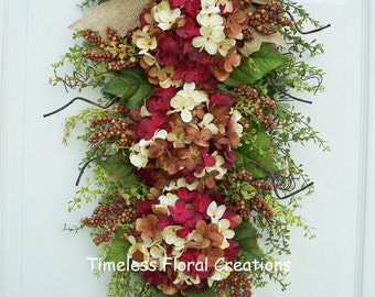"Hydrangea Wreath Swag~Fall~Autumn~for front door decorating~floral swag~Summer thru Fall~""Chocolate Cordial""~ Timeless Floral Creations"