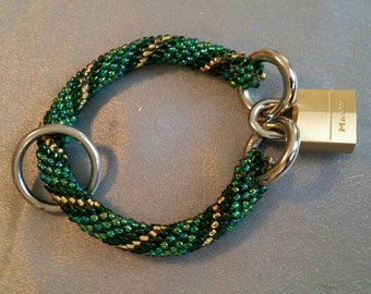 "Beaded bracelet, Unique beaded rope bracelet with padlock, iridescent green and gold, 9"" (#744)"
