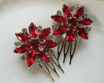 VINTAGE RUBY Hair Combs Bridal Bridesmaids Hair Accessories Wedding Mother Dress Up Couture Red Roses Winter Wedding