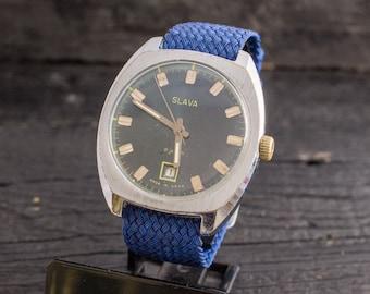 Vintage mens watch, Vintage Slava mens watch, vintage russian watch, ussr cccp, retro watch, vintage watch