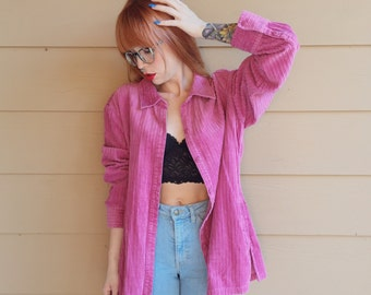 Oversized Fuchsia Pink Corduroy 90's Grunge Overskirt Top // Women's size Large L