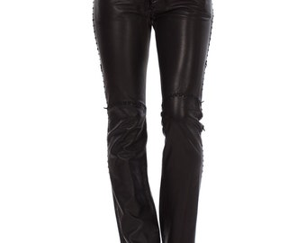 Vintage 1970s North Beach Leather Black Whip Stitched Pants  Size: XS