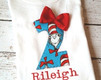Girl's Dr. Seuss second birthday shirt, Cat and the Hat, photo prop, Birthday shirt, blue and red, custom Dr. Seuss birthday, number 2