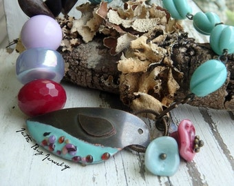 Wind in the Willows- rustic chunky bracelet. enamel bird. turquoise rose pink. Indie style. vintage Lucite. boho jewelry. jettabugjewelry