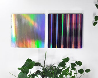 FREE SHIPPING Holographic Rainbow Art Geometric Abstract Hanging Wall Framed Decor Painting Modern Minimal Psychedelic Large Colorful Cool