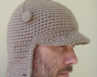 Crochet Hat Helmet Budenovka with Visor Military in Light Brown