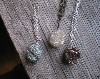 Fool's Gold Druzy Stone Necklace in White, Green, or Brown