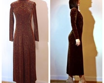 Paisley Velvet Dress Brown Aztec Print Mock Turtleneck Long Sleeve 90s Velvet Dress size 6