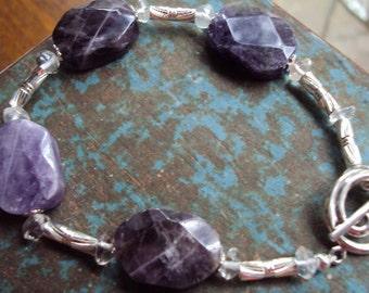 Amethyst Rock Crystal and Sterling Silver Bracelet