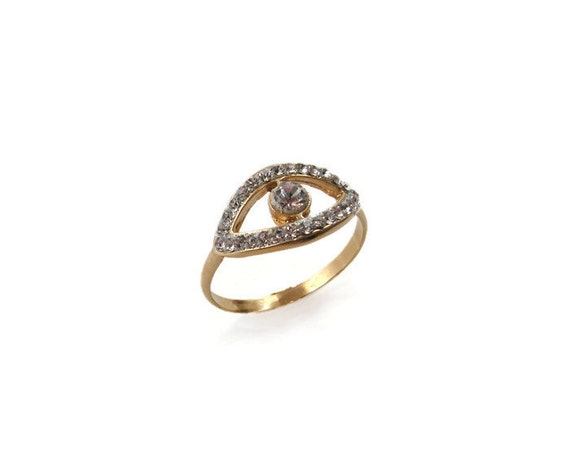 gold evil eye ring crystals gold cz eye ring gold jewelry