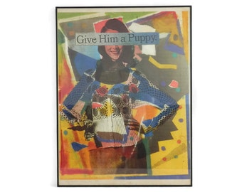 Give Him a Puppy by Charmaine Caire 1991 Bubble Jet Print