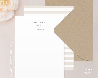 Minimal Stationery Set, Note Card Set, Thank You Card with Envelope - Customize with Name or Monogram