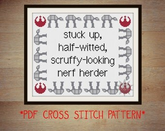 Star Wars: Empire Strikes Back Princess Leia quote cross stitch sampler pattern