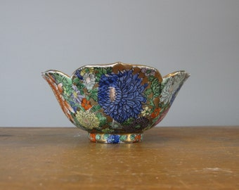 Vintage Rice Bowl, Mille Fleurs, Republic period, Japanese ceramics, Chinese porcelain, export porcelain