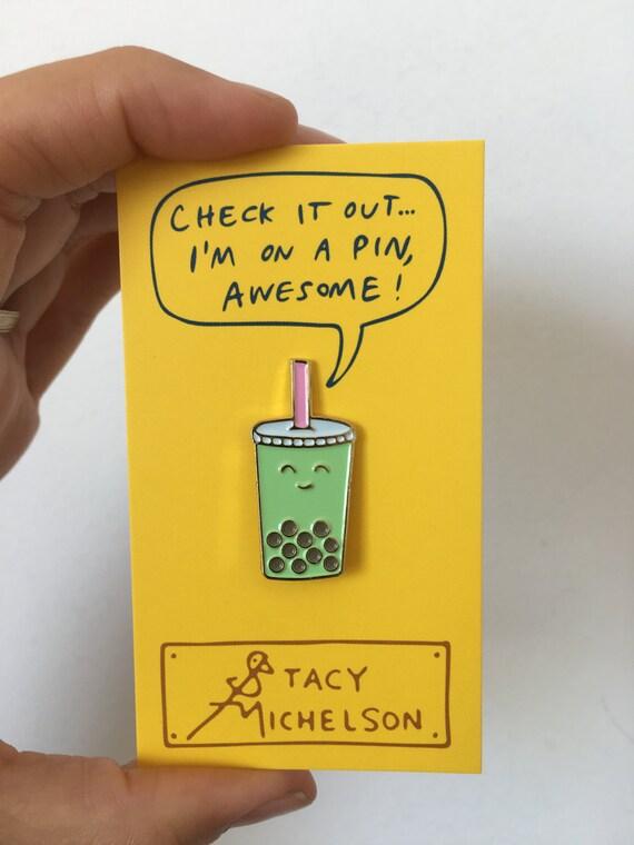 Miss Matcha boba pin! matcha green tea with boba! for tea lovers/ boba fans/iced tea/ jasmine /matcha/green tea/bubble tea pin/ enamel pin /