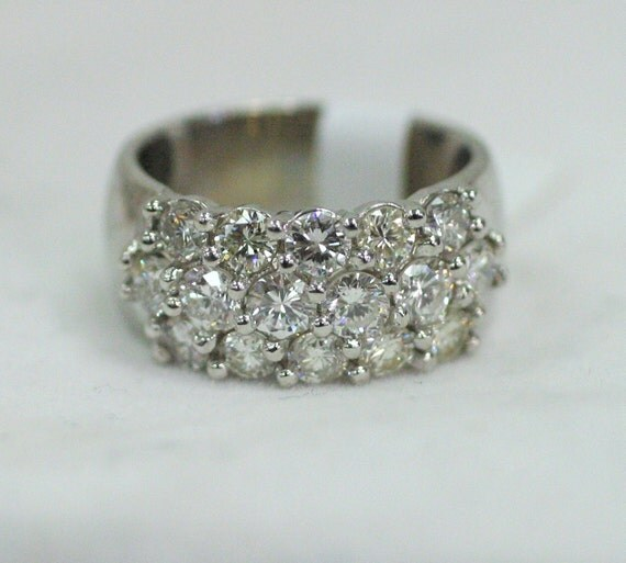 multi row diamond cluster ring in 14k white gold by. Black Bedroom Furniture Sets. Home Design Ideas