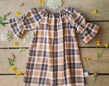 Brown Plaid Flannel dress, Girls fall dress, thanksgiving dress, warm, cozy, boho winter dress, tartan plaid, baby, toddler, girl