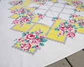 Mid Century Tablecloth Yellow Red Roses