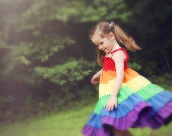 Rainbow dress - Girls rainbow twirl dress - Party dress - Rainbow party - Sizes 1 year up to 8 years - children dress girlsandboys