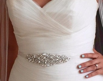 "Wedding Dress Belt, Bridal Gown Sash. Crystals, Rhinestones, Pearls, Beaded. Ivory, White, Blush, Champagne Ribbon. ""Alex"""