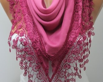 Pink Shawl Scarf Cotton Scarf with Lace Triangle Scarf Summer Fashion Women Accessories Gift For Her DIDUCI