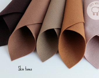 "Wool felt sheets Skin tones colours, pure wool felt (8"" x 12""), 1 - 1,2mm, Ships from Ireland"