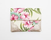 BLOSSOM 7 / Floral fabric & Natural leather folded clutch bag with leather tassel - Ready to Ship