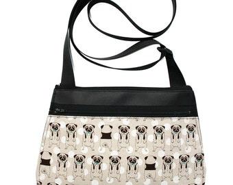 Pugs, black vinyl, cross body, vegan leather, zipper top