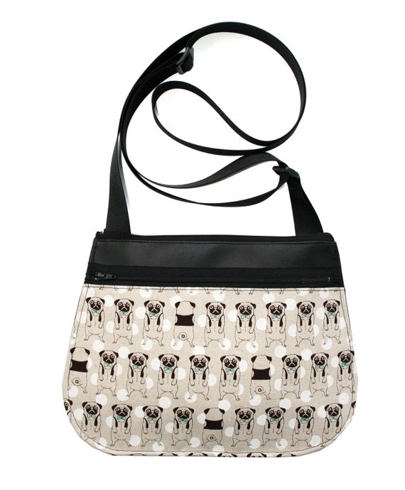 Pugs, black vinyl, cross body, vegan leather, zipper top