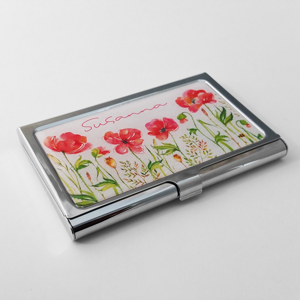 Personalized Business Card Holder Custom Red Poppy Business