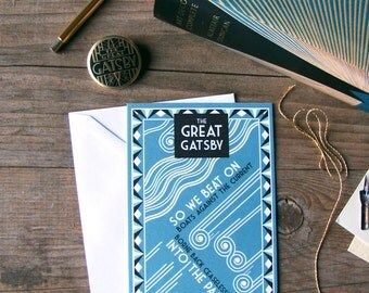 The Great Gatsby illustrated cards with matching envelopes, set of 3