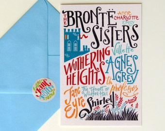 Bronte Sisters bibliography cards (3.94 x 5.91) set of 3 cards with matching envelopes