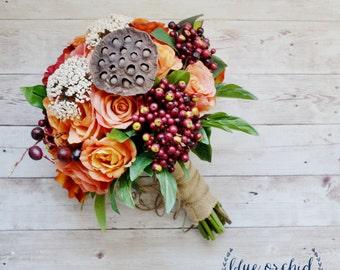 Orange Red Wedding Bouquet, Fall Wedding Bouquet, Wedding Bouquet with Berries, Silk Wedding Bouquet, Rustic, Shabby Chic, Cottage Chic