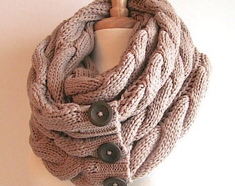 SALE Infinity Chunky Scarf Braided Cable Knit Neckwarmer LIght Taupe Beige Scarves with Buttons Women Girls Accessories