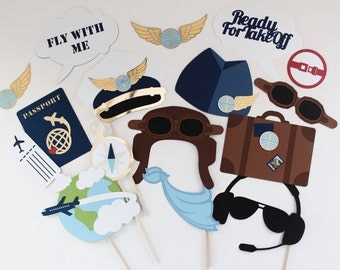 Airplane Pilot Photobooth Props -  36 Piece Fully Assembled AviationPhoto Booth Set - Speech Bubbles, Gold Foil, and more