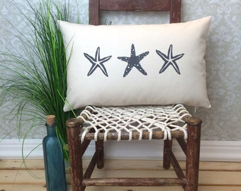 Starfish Pillow, Beach Pillow,  Lumbar Pillow, Nautical Pillow, Gift Pillow, Oblong Pillow, Nautical Decor, Long Pillow, Beach Decor