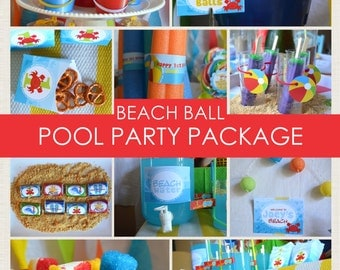 Beach Ball Party Package // Pool Party // Printable PDF // Personalized