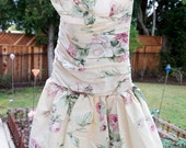Vintage Short Floral Dress, Ivory Floral Dress, Strapless Spring Dress, Ruched Bubble Dress, 80's or 90's, Boho, Bohemian, Cotton Dress
