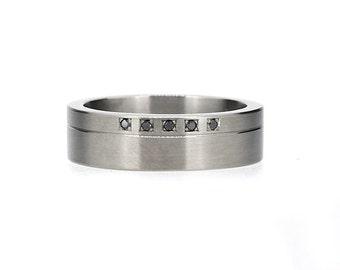 Black diamond wedding ring made from palladium,  modern wedding ring, man wedding band, black diamond ring, man gothic wedding, unique