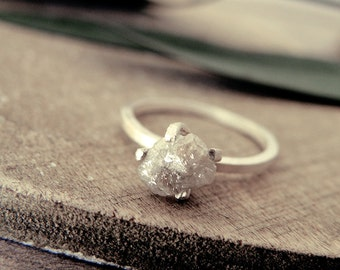 Herkimer Diamond Ring Raw Stone Engagement Ring Raw Quartz
