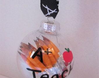 Pencil teacher ornament, Teacher gifts, teacher ornament