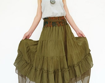 NO.36 Olive Teal Cotton Tiered Peasant Skirt, Long Maxi Skirt