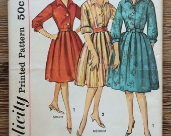UNCUT Vintage 1960's Dress Sewing Pattern Simplicity 4185 Proportioned Sizes, Rockabilly, Mad Men, Full Skirt, Pleated